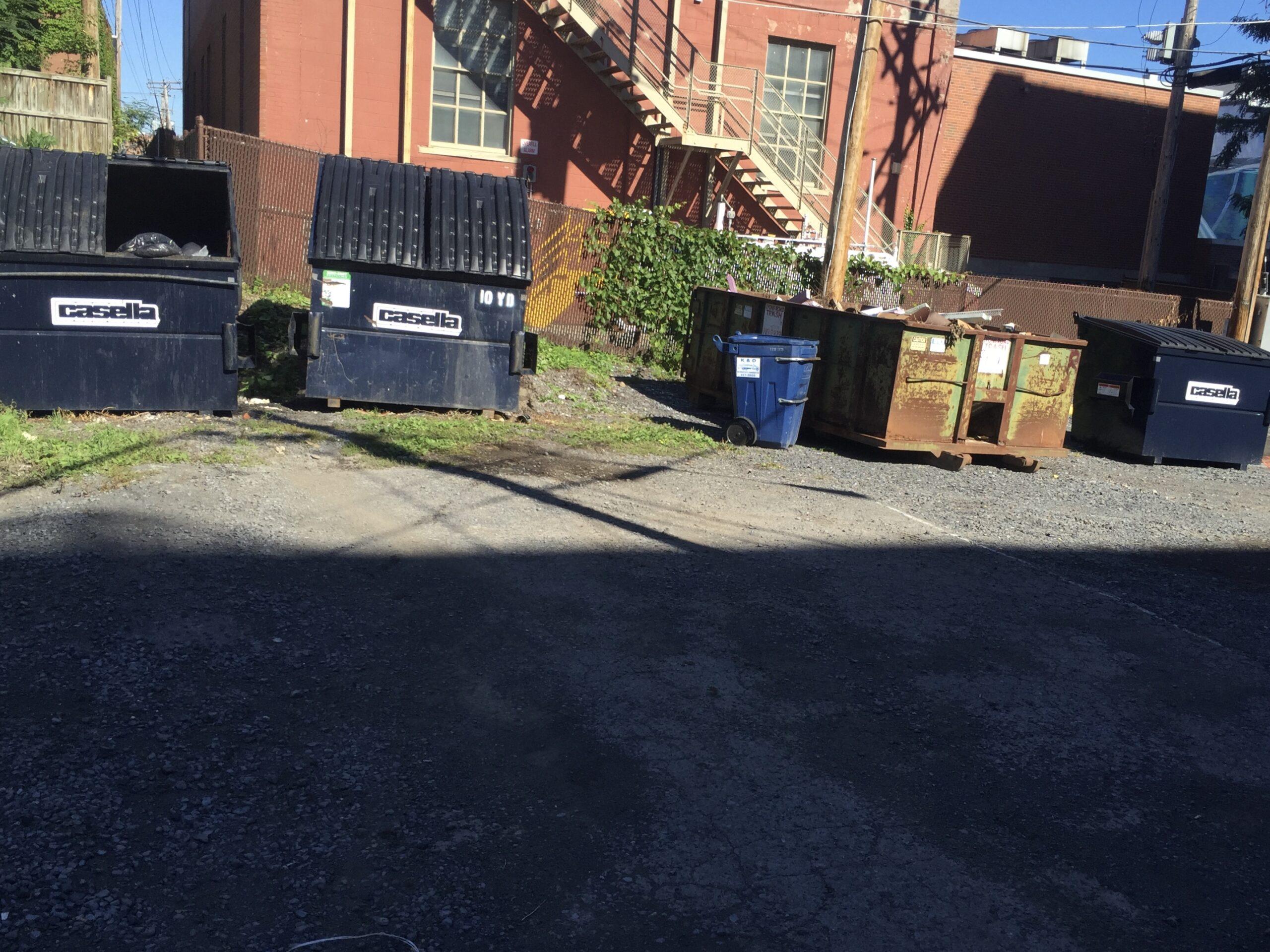 scattered trash bins